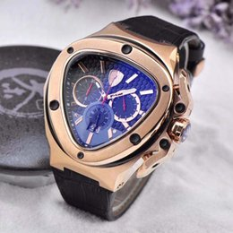 Wholesale triangle men watches - High Quality Luxury Lamb Quartz Movement Men Watch AAA Tonino Leather Band Black Dial male Wristwatch