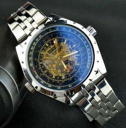 2019 relógios homens jaragar JARAGAR Esqueleto de Ouro Relógios Homens Marca de Luxo de Prata de Aço Inoxidável Auto Auto-vento Relógio Mecânico Esporte Relogio masculino relógios homens jaragar barato