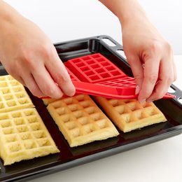 Wholesale Silicon Baking Moulds - Baking Mould Waffle Silicon Mould DIY Biscuits Cookie Mold Non Stick Cake Bakeware Kitchen Baking Tools 4 Square