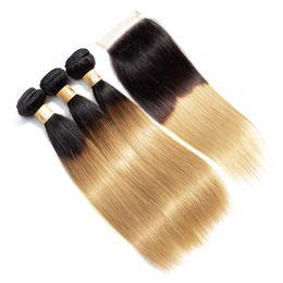 2019 paquetes de paquetes de tejido Paquete de 3 paquetes de cabello humano rubio claro con cierres 1B / 27 Ombre Armadura de cabello humano recto brasileño paquetes con cierre paquetes de paquetes de tejido baratos