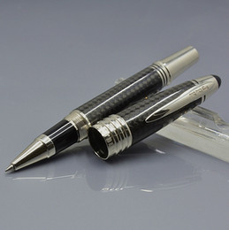 Material raro on-line-Top Grade John F Kennedy Fibra De carbono Preta material Raro bola de Esferográfica caneta Esferográfica com JFK clipe de escultura marca marcas Monte escrever canetas