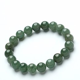 Argentina Birmania natural verde yu piedra 10 MM perlas redondas pulsera Mujeres pulsera regalo de la joyería popular cheap myanmar bracelet Suministro