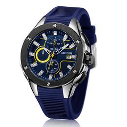 Wholesale Top Waterproof Watches - Men Sport Watch MEGIR Chronograph Silicone Strap Quartz Army Military Watches Clock Men Top Brand Luxury Male Waterproof Wristwatches  2053