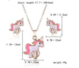 Wholesale Wedding Womens Clothing - Unicorn Pendant earrings set Designer Horse Animal Necklaces & Pendants Womens Clothing Accessories Vintage Jewelry Christmas Gifts
