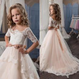 Wholesale Elegant Rhinestone Long Dresses - Elegant Ball Gown Flower Girls Dresses For Weddings Sheer Neck Long Sleeves Applique Lace Tulle Children Wedding Dresses Girls Pageant Dress