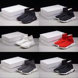 2019 calcetines para zapatillas 2019 Luxury Sock Speed Zapatillas para hombre Para mujer La mejor calidad de punto elástico Negro Blanco Rojo Ligero botas de diseño Zapatillas de deporte chaussures rebajas calcetines para zapatillas