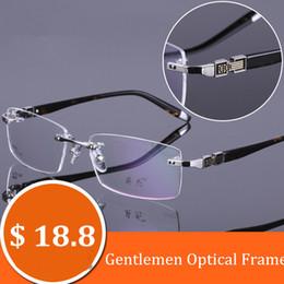 Wholesale Eye Glasses Temple - Chashma Brand 2017 Gentlemen Optical Frames Rimless Eyewear Alloy Frame Acetate Temples Men Eye Glasses for Myopia