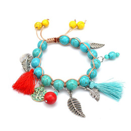 Wholesale Jewelry Findings For Bracelets - Find Me 2017natural turquoise bracelets for girls statement jewelry Fashion Wholesale shell Double braiding beads Bracelet bangles for women