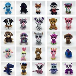 Wholesale fabric for plush toys - Ty Beanie Boos Plush Stuffed Toys 15cm Big Eyes Animals Soft Dolls for Kids Gifts ty Toys Big Eyes Stuffed plush KKA4108