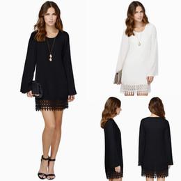 Wholesale shift dress wholesale - Fashion Women Chiffon Shift Dress Crochet Lace Hem Top Quality Long Sleeve Mini Dress Black White Vestidos Femininos SALE
