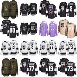 Weibliche eishockey-trikots online-Jugend männlich weiblich Los Angeles Kings benutzerdefinierte 19 Brett Sutter 8 Drew Doughty 77 Jeff Carter Tyler Toffoli nach Hause weg genäht Hockey Trikots
