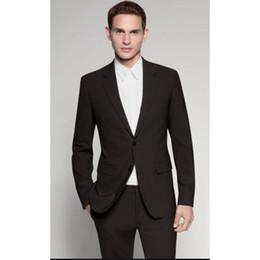 Quadrato a tasca personalizzato online-Abiti uomo su misura terno masculino nero due bottoni uomo classico abito da uomo (giacca + pantaloni + cravatta + tasca quadrata)