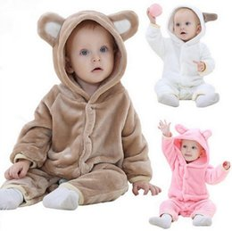 Mono de oso online-Bebé de moda de franela Animal Warm Romper Kids Cartoon de una sola pieza Home bear Romper Toddler Jumpsuit de calidad superior