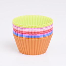 Canada 12pcs / set Silicone Cupcake Moule GâteauMuffin Forme Ronde Outil Cuisson Pâtisserie Outils Cuisine Gadget Ustensiles De Cuisine cheap baking gadgets tools Offre