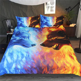 Wholesale Queen Quilts Bedding - Fire and Ice by JoJoesArt Bedding Set Blue and Yellow 3D Quilt Cover With Pillowcases Wolf Wolves Bed Set 3-Piece Home Textiles