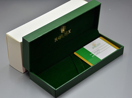 Classificação do cartão on-line-Rlx marca de luxo caixa de lápis caixa de couro verde de grau superior com cartão de garantia para o presente de aniversário de natal valentine caixas de embalagem de alta qualidade
