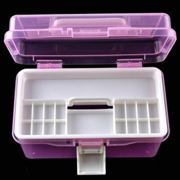 Wholesale Transparent Folding Plastic Boxes - Wholesale-2-layer Detachable Desktop Storage Box Transparent Plastic Storage Box Jewelry Organizer Holder Cabinets For Small Objects