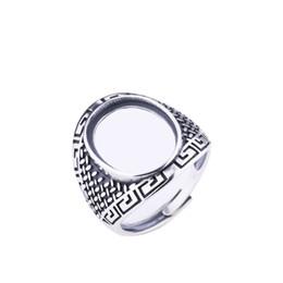 juegos de joyas de lapislázuli Rebajas Art Deco Vintage 925 Sterling Silver Anillo de bodas de compromiso para 13x17mm Oval Cabochon Ámbar Ágata Lapis Lazuli Fine Jewelry Setting