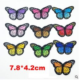 Wholesale Corduroy Jeans - 20Pcs set Butterfly Patches For Clothing Jeans Iron On Embroidered Patches Appliques Patches For Kids Clothes Decoration