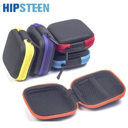 Wholesale Charger Storage Box - HIPSTEEN EVA Square Earphone Storge Bag Mobile Phone Data Cable Charger Organizer Bag Small Items Storage Box