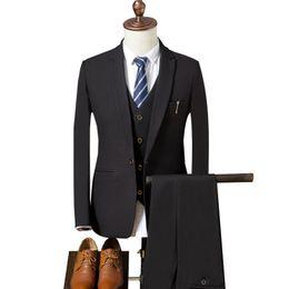 Новый стиль мужской жилет онлайн-(Jacket+Vest+Pants)Fall new men's slim suit suit, British style business casual, wedding dress