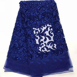 Bordado, laço, jarda on-line-Venda quente Azul Royal Bordado Tecido de Renda Africano de Alta Qualidade com lantejoulas Francês Net Lace Velvet Tecidos Rendas 5 metros IG634