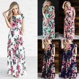 Wholesale Xl Black Peplum Skirt - Women's Fashion Spring 3 4 Sleeve Classic Rose Maxi Dresses Long Sleeve Skirt Casual Dresses Multicolor Plus Size 3XL