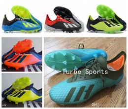 tacos de fútbol azul rojo Rebajas Botines de fútbol para hombre 2018 X 18.1 FG Naranja Azul Verde Tinta roja Negro Blanco Cian Crampones de fútbol botas scarpe calcio Zapatos