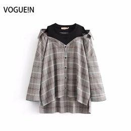 Wholesale Womens Collared Blouse - VOGUEIN Womens Checks & Plaids Print Contrast Collar Button Down Shirt Blouse Tops Wholesale