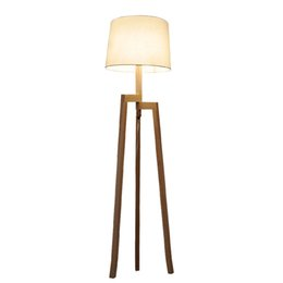 Wholesale Living Room Floor Lamps - Modern Minimalist 3 Leg Wood Tripod Floor Lamp With Fabric Shade Creative Floor Light For Living Room Study Lighting Fixture FL9