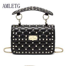 b67ea26f774 Discount longchamp bags - Genuine Leather Rivet Shoulder Bags for Women  100% Sheepskin Ladies Fashion