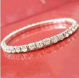 Wholesale Cheap Women Earrings - Cheap Sliver Plated Crystal Bangle Bridal Bracelets Elastic 1 Row Party Jewelry 2017 Bridal Accessories for Women