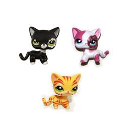 Wholesale Figure Shops - Pet Shop Orange Striped &Sparkle Pink &Black Short Hair Cat Cut PVC Toys Action Figure Free Shipping