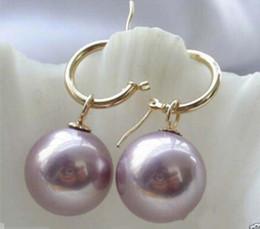Rare énorme boucle d'oreille perle de coquillage des mers du Sud pourpre tahitienne de 14 mm ? partir de fabricateur