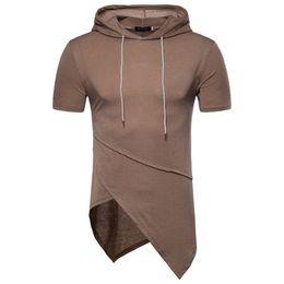 Wholesale Basic Black T Shirt - Spring Summer Men T-shirt Unregular Design Casual Hooded Shirt US Eur Size High Street Style Homme Basic Tee