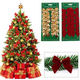 pajarita cubierta de strass Rebajas 12 UNIDS Bonito Arco Ornamento de Navidad Árbol de Navidad Decoración Festival Fiesta Partido Bowknots Adornos Adornos Decoración de Año Nuevo
