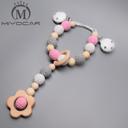 Wholesale Beautiful Baby Toys - MIYOCAR beautiful pink and gray wooden beads baby pram charm stroller toy Baby Rattles Mobiles toy rattle attached to bed