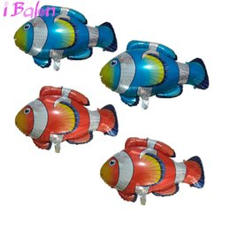 Wholesale Birthday Party Supplies Themes - Clown fish Foil Balloons 50pcs Large sea Fish Inflatable Globos Ocean Theme Party Decoration Baloes Wedding Birthday Supplies Ballons
