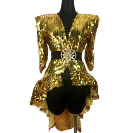 sexy ballroom dance skirts Promo Codes - Nightclub Bar Female Ds Sexy Costume Gold Silver Sequins Tail Skirt Singer Jazz Dance Team Clothing Dj Performance Stage Wear