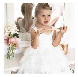 Wholesale Girls Best Christmas Dresses - Girls Dress Lace Infant Flower Baby Princess Kids Clothing 4 Colord Kids Sleeveless Party Dresses Best Gifts Clothes DHL Free Shipping