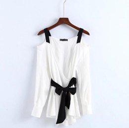 Wholesale Lace Up Girdles - Women Long Sleeve Kimono Blouse Female Cold Shoulder Tops Sexy Slash Neck Hit Color Blouse Lace Up Wide Girdle