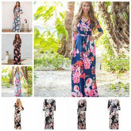 Wholesale Wholesale Boho Fashion - 3 4 Sleeve Long Dress Floral Printed Fashion Women Casual Long Dress Loose Boho Beach Maxi Elegant Floral Dress KKA4799