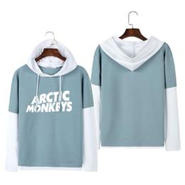 Wholesale Hoodies Monkey - 2018 fake two piece unisex long-sleeved pullovers hoodies women rock music arctic monkeys hoodie woman sweatshirts