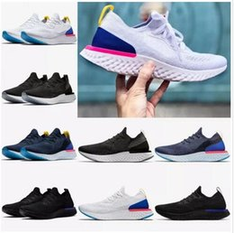 Wholesale New Fabric Lines - 2018 NEW summer Epic React Women Running Shoes Sneakers knit Fly line Sport Boost AQ0067 AQ0070 Man breathable Sneakers (Free shipping)