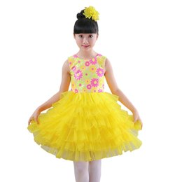 Wholesale Modern Dance Dress Costumes - flower salsa dancing dress of girl stage wear modern kids dance costumes for girls stage clothing dancewear girls