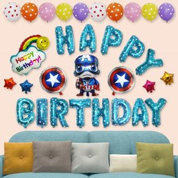 Wholesale birthday party supplies themes - Birthday Decorations For Kids Happy Birthday Balloons Captain America Theme Cheap Party Supplies Set All-in-One Pack including Banner Flags