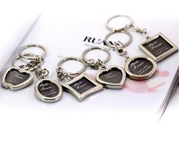 Wholesale Keys Frame - 100pcs Photo Frame Round Heart Apple Oval Rhombus Shape Metal Alloy Keychain Key Chain Keyring Car Keychains Couples Keyring Gift J039
