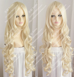 Wholesale Wavy Platinum Blonde - new wig Platinum Blonde long wavy curly hair Europe and the rural girl wigs
