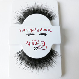 real wholesale make up Canada - 100% hand made mink eyelashes 3D real mink false lash black soft cotton stalk eyelashes make up lashes strip winged lash