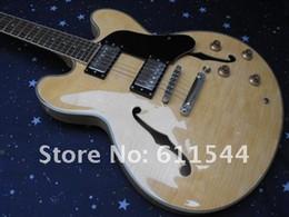 Wholesale Jazz Guitars Natural - Natural Classic semi hollow G Jazz Guitar Free Shipping Top Musical instruments Wholesale
